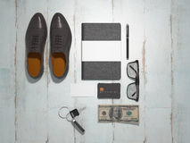 Every day carry man items collection: glasses, flash , shoes . Stock Photos