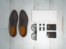 Every day carry man items collection: glasses, flash , shoes . Royalty Free Stock Photography