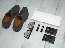Every day carry man items collection: glasses, flash , shoes . Stock Photo