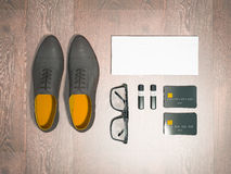 Every day carry man items collection: glasses, flash , shoes . Royalty Free Stock Images