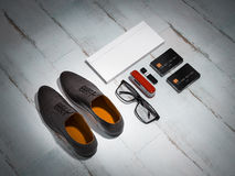 Every day carry man items collection: glasses, knife, shoes . Royalty Free Stock Photography