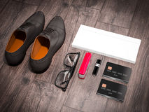 Every day carry man items collection: glasses, knife, shoes . Royalty Free Stock Images