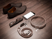 Every day carry man items collection: glasses, leash, shoes . Royalty Free Stock Image