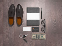 Every day carry man items collection: glasses, leash, shoes . Stock Image