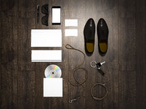 Every day carry man items collection: glasses, leash, shoes . Stock Photo