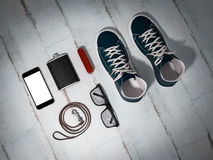 Every day carry man items collection: glasses, leash, sneakers. Stock Images