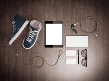 Every day carry man items collection: glasses, leash, sneakers. Stock Photos