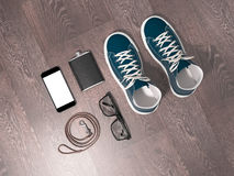 Every day carry man items collection: glasses, leash, sneakers. High resolution Royalty Free Stock Photos