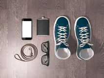 Every day carry man items collection: glasses, leash, sneakers. Royalty Free Stock Images