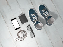 Every day carry man items collection: glasses, leash, sneakers. Stock Photography