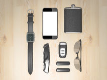 Every day carry man items collection: glasses, usb, keys, watches,flask. Royalty Free Stock Photos