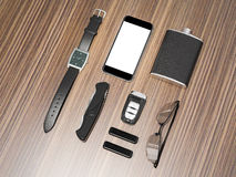 Every day carry man items collection: glasses, usb, keys, watches,flask. Royalty Free Stock Image