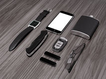 Every day carry man items collection: glasses, usb, keys, watches,flask. Stock Photography