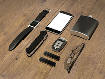 Every day carry man items collection: glasses, usb, keys, watches,flask. Royalty Free Stock Photo