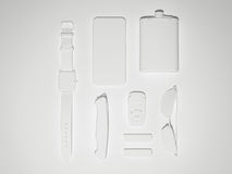 Every day carry man items collection: glasses, usb, keys, watches,flask. Stock Photo