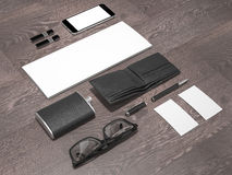 Every day carry man items collection: glasses, wallet, flask Royalty Free Stock Photography