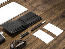 Every day carry man items collection: glasses, wallet, flask Royalty Free Stock Images