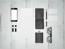Every day carry man items collection: glasses, wallet, flask . Stock Images
