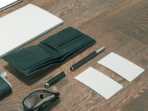 Every day carry man items collection: glasses, wallet, flask . Royalty Free Stock Images