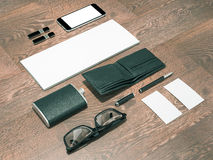 Every day carry man items collection: glasses, wallet, flask . Royalty Free Stock Photos
