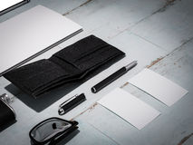 Every day carry man items collection: glasses, wallet, knife, . Royalty Free Stock Image