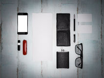 Every day carry man items collection: glasses, wallet, knife, . Royalty Free Stock Photos