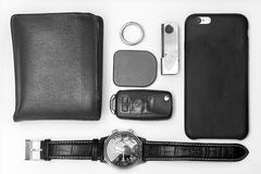 Every day carry man items collection isolated on white. Black and white. BW Royalty Free Stock Photography