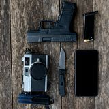 Every Day Carry Pocket Dump Stock Photo