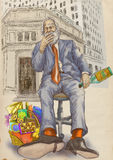 Every day is good to celebrate. Even on the stock markets on Wall Street - an old man, a businessman with a bottle of rum and a cigar in his mouth. / Hand Stock Image