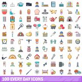 100 every day icons set, cartoon style. 100 every day icons set in cartoon style for any design vector illustration Royalty Free Stock Images