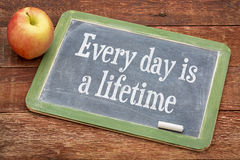 Every day is a lifetime on blackboard Royalty Free Stock Photos