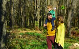 Every day a new discovery. Mother and father piggybacking little son hiking in woods, discovery concept. Family on. Vacation together into the wild stock photo