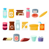 Every Day Products Set. Of Flat  Vector Simple Cartoon Design Icons On White Background Stock Photo