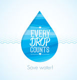 Every drop counts eco friendly save water clean creative illustration. stock illustration