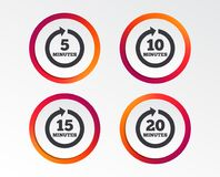Every few minutes signs. Full rotation arrow. Every 5, 10, 15 and 20 minutes icons. Full rotation arrow symbols. Iterative process signs. Infographic design Royalty Free Stock Photo