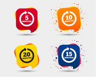 Every few minutes signs. Full rotation arrow. Every 5, 10, 15 and 20 minutes icons. Full rotation arrow symbols. Iterative process signs. Speech bubbles or chat Royalty Free Stock Images