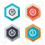 Every few minutes signs. Full rotation arrow. Hexagon buttons. Every 10, 25, 30 minutes and 1 hour icons. Full rotation arrow symbols. Iterative process signs Royalty Free Stock Photo
