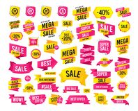 Every few minutes signs. Full rotation arrow. Vector. Sale banner. Super mega discounts. Every 10, 25, 30 minutes and 1 hour icons. Full rotation arrow symbols stock illustration