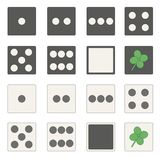 Every game has its own luck. Two sets of vector dice with light and dark side top view vector illustration