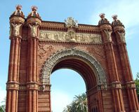 Barcelona city. Spain. City landscape and park views of the city. In every great city of Europe you can find their own triumphal arch royalty free stock photography