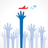 Every hand try to touch the airoplane. Stock vector Royalty Free Stock Images
