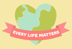 Every life matters poster. Heart shape with ribbon. Pastel colors, retro style. Vector illustration. Royalty Free Stock Images