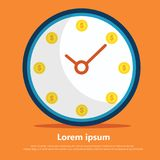 Every minute is money. Clock flat vector with orange background adout invest vector illustration