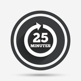 Every 25 minutes sign icon. Full rotation arrow. Stock Photo