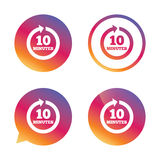 Every 10 minutes sign icon. Full rotation arrow. Every 10 minutes sign icon. Full rotation arrow symbol. Gradient buttons with flat icon. Speech bubble sign Royalty Free Stock Image