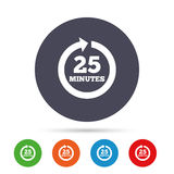 Every 25 minutes sign icon. Full rotation arrow. Stock Images