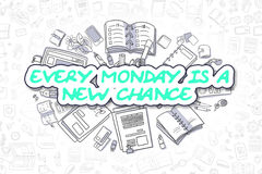 Every Monday Is A New Chance - Business Concept. Cartoon Illustration of Every Monday Is A New Chance, Surrounded by Stationery. Business Concept for Web stock illustration