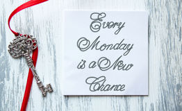 Every Monday is a New Chance. Inspirational quotes lettering for postcards, business ideas, announcements, write a note with beautiful handwriting of a female royalty free stock images