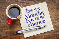 Every Monday is a new chance on napkin Royalty Free Stock Image