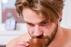 Every morning with his coffee. Man bearded handsome macho hold cup of coffee. Best time to have your cup of coffee. Guy stock images